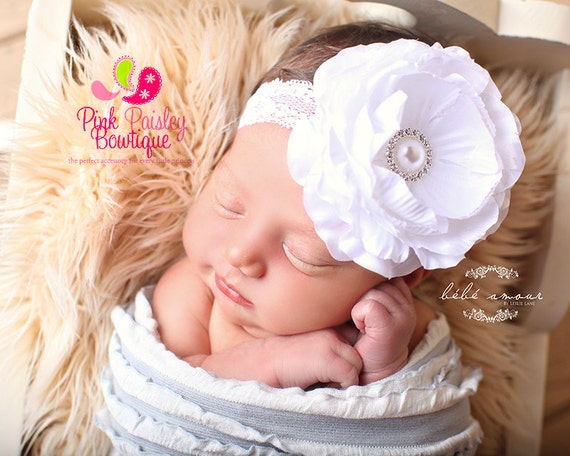 Baptism headband - Christening Baby headband - Flower Girl Headband - White Baby Headband - Baby Hair Accessories- Baptism Hair Bows