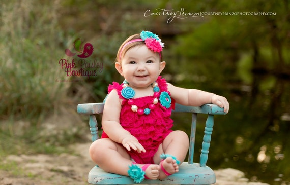 Hot Pink petti lace romper and headband, Baby girl 1st birthday outfit, Newborn Coming home outfit, Baby romper, Baby Cake Smash Outfit,
