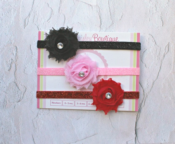 Set of 3 Glitter Headband - Baby Girl Headbands - Baby Bow Headband - Newborn Photo Prop - Infant Headbands -Baby Hair bows - Valentines Day
