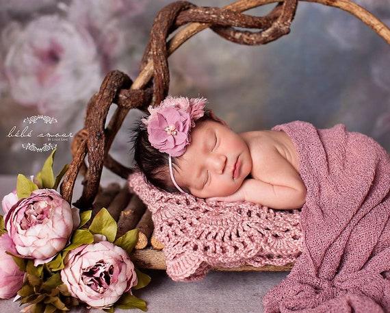 Baby Headband -Vintage pink Headband - Baby Hair bow - Infant Headband - Fall color Headband - headband baby - Baby bows -  Holiday Bows