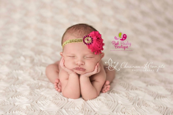 Pink & Gold Baby Headband - You Pick Red Pink Baby Headband - Baby Hairbows - Infant Headband - Red Headband - headband baby - Baby bows
