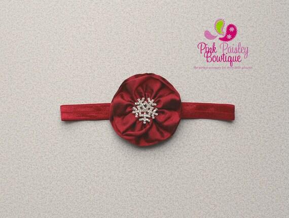Christmas Headband - Baby Headband - Red Headband - Baby Hairbow - Infant Headband - Holiday Headband - headband baby - Baby bows -Snowflake