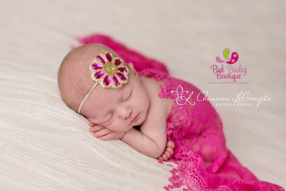 Baby Headbands - You pick 1 Rhinestone Flower Headband - Infant Baby Headband - Baby Girl Headbands - Baby Hair Accessories - Baby Hairbows