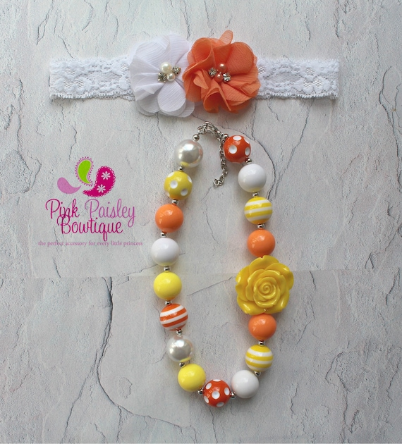 Baby Headband & Necklace set, You are my sunshine birthday cake smash, lemonade, orange yellow bows, Baby Accessories, Chunky Necklace Bows
