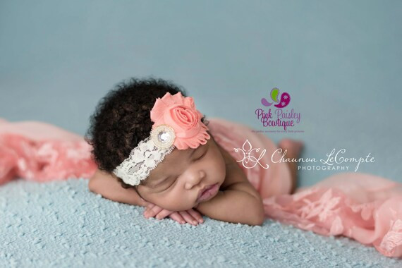 Coral Shabby Baby Headband - Baby Girl Headbands - Baby Hair Accessories - Infant Headband. Newborn Headbands - Baby Hair Bows