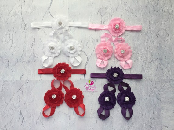 Baby Sandal & Baby Headband Set. 12 colors to choose from Baby Sandals. Barefoot Sandals. Baby Shoes. Newborn Headband. Baby Shower Gift.