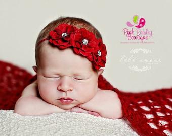 RED CHRISTMAS headband Baby Headband- Easter Bows - 8 Color Options - Baby Girl Headbands  Baby Hairbows - Infant Headband - Red Headband -