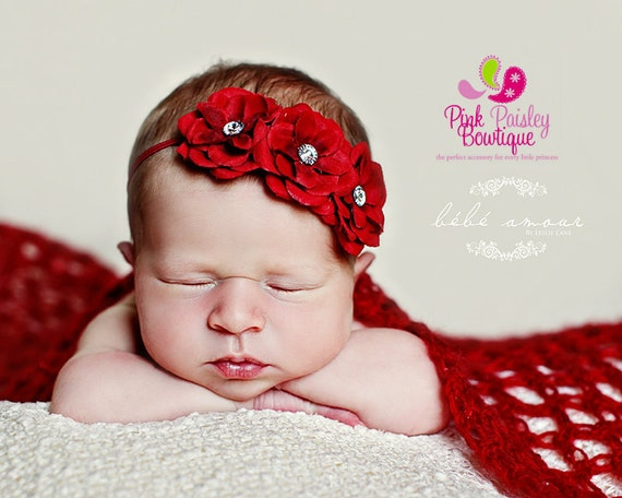 Red X'mas  headband Baby Headband- Easter Bows - 8 Color Options - Baby Girl Headbands - Baby Hairbows - Infant Headband - Red Headband -