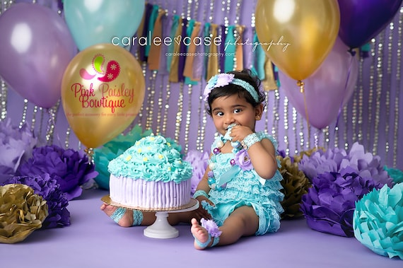 Cake Smash Outfit - Baby Girl 1st Birthday Outfit - Aqua &Purple Petti Romper -Baby Girl Rompers -Twinkle Twinkle Birthday - Baby Girl Dress