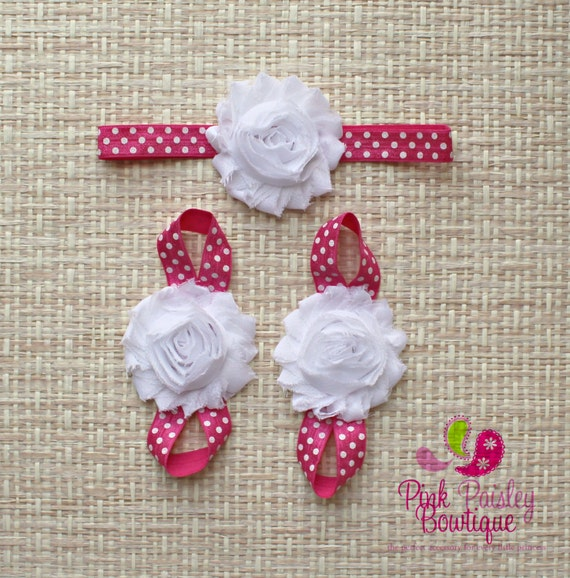 Baby Barefoot Sandal & Baby Headband Set. Baby Sandals. Barefoot Sandals. Baby Shoes. Newborn Headband. Baby Shower Gift