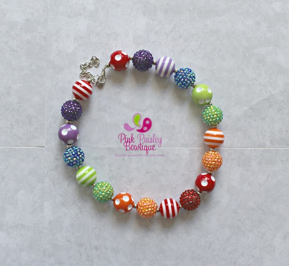 Baby Girl Chunky Necklace, Rainbow Bubble Gum Necklace, Big Beads Bubblegum Necklace, Photo Prop Necklace, Rainbow Birthday party Cake smash