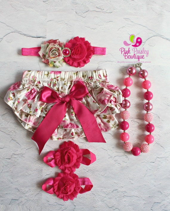 Baby Girl 1st Birthday Cake Smash Outfit - Newborn Headband and Bloomers Newborn Photo Outfit- Shabby Floral Baby Girl Birthday - Cake Smash
