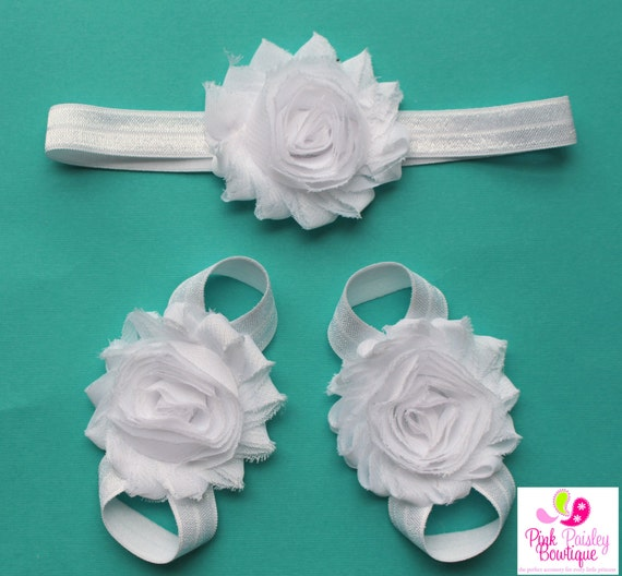 Baby Barefoot Sandal & Baby Headband Set. CHOOSE FROM 72 COLOR.  Barefoot Sandals. Baby Shoes. Newborn Headband. Baby Shower Gift