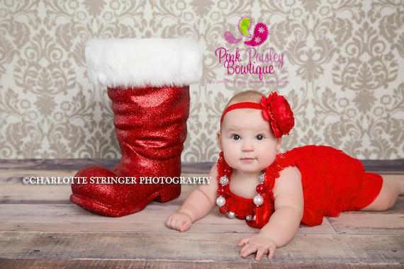 Red Christmas Dress, Baby girl 1st birthday outfit, Christmas Outfit, Baby romper, Cake Smash Outfit, Baby Girl 1st Dress, Red Romper