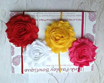 Baby Headband Set of 4 - Baby Girl Headbands - Baby Shower Gift - Infant Headbands - shabby Hairbows - Newborn Headband - Baby Bows