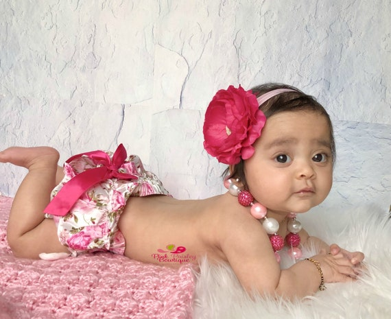 Baby Diaper Cover Set- 6, 8, 9 month Sitter Photos - Baby Girl Photo Outfit- Baby Bloomer Set - Cake smash outfit-Ruffle Baby Diaper cover