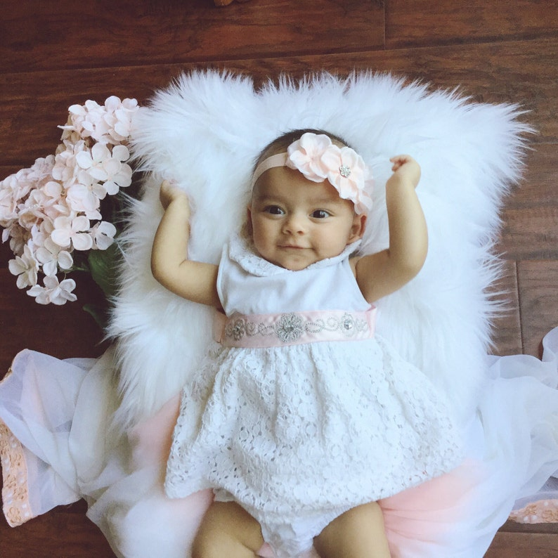75dac5d14c7d Baby Girl Bows Soft Pink Baby Headband Newborn Photo Shoot
