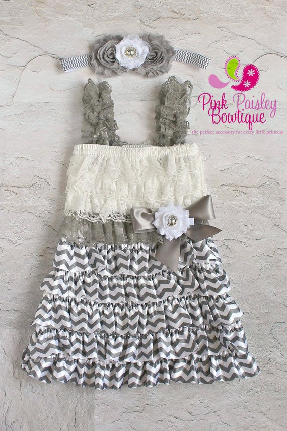 Vintage Chevron Lace Dress .3 PC Petti Dress-Flower Girl Outfit. Baby girl 1st Birthday dress.Onesie.Newborn coming home outfit. Cake Smash