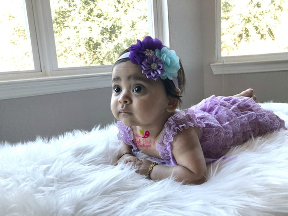 NEWBORN ROMPER SET, lavender  Ruffled Lace Outfit and Matching Headband,Newborn Photo Outfit, Many Colors Available, Baby Girl Photo Outfit