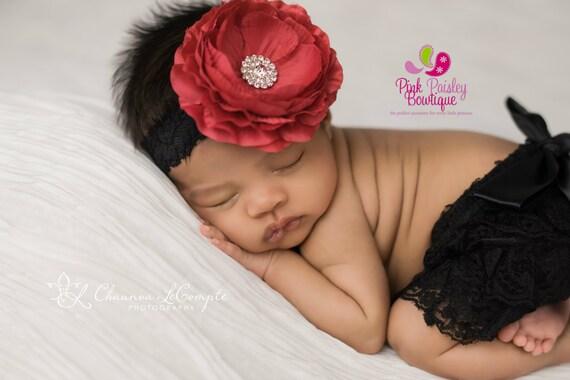 Baby Bloomer Set- Newborn Photo Shoot - Christmas Bloomers - Baby Ruffle Diaper Cover - Baby  Girl Newborn Photo Outfit - Baby Girl Headband