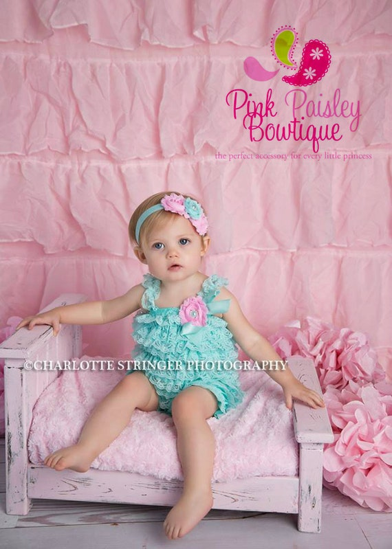 8fc18433f90e Cake Smash Outfit - Baby Girl 1st Birthday Outfit - Aqua   Pink Petti Romper  -