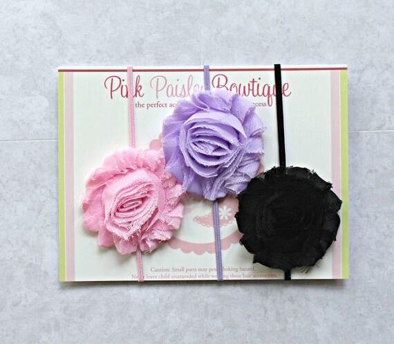 Set of 3 Shabby Chic Baby Headbands - Newborn Headbands - Baby Shower Gift - Baby Girl Headbands - Girls Shabby Headband- Toddler Headbands