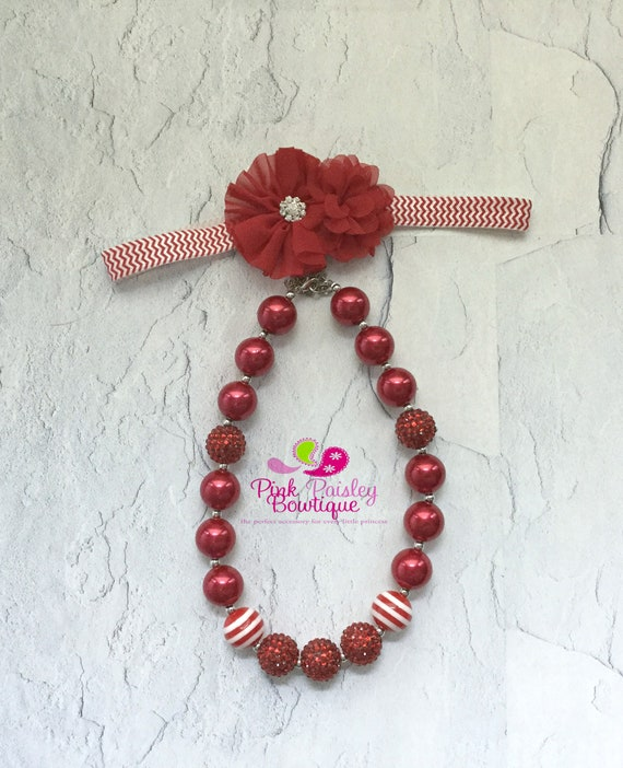 Red Baby Girl Chunky Necklace & headband set, Red necklace set, Valentines Day Bubble Gum Necklace, Photo Prop Necklace Cake smash
