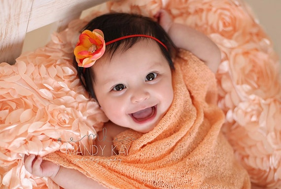 Baby Headbands - Orange Flower Headband - Infant Headbands - Baby Girl Headbands - Baby Hair Accessories - Toddler Headbands