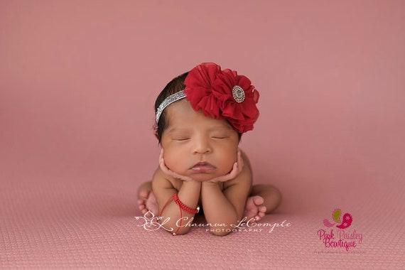 Red Silver Baby Headband - Red Headband- Baby Hairbow - Infant Headband - Baby Headband - headband baby - Baby bows - Christmas headband