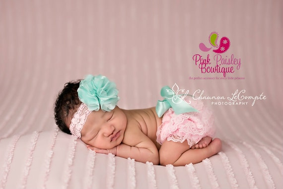 Newborn Headband and Bloomers- Pink ruffle diaper cover - Cake smash outfit- Ruffle - Aqua Diaper cover-Newborn Photo Outfit- Baby Bloomers