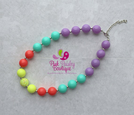 Bubble Gum Necklace, Baby Girl Chunky Necklace, Neon Bubble Gum Necklace, Photo Prop Necklace Rainbow Birthday party,  Cake smash Photo prop