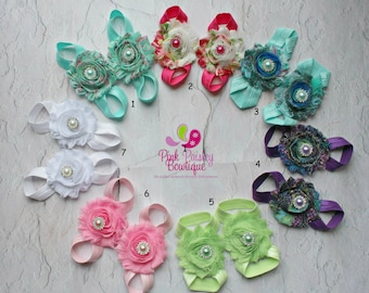 Baby Shoes - Baby Barefoot Sandals with Pearls - Toddler Sandal - Newborn Sandal - Newborn Shoes - Baby Sandals - Baby Girl Barefoot Shoes