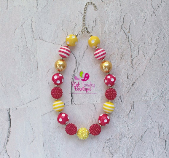 Baby Girl Chunky Necklace, Pink Lemonade Necklace, You are my sunshine Bubblegum Necklace, Baby Necklace, Sunshine Birthday party Cake smash