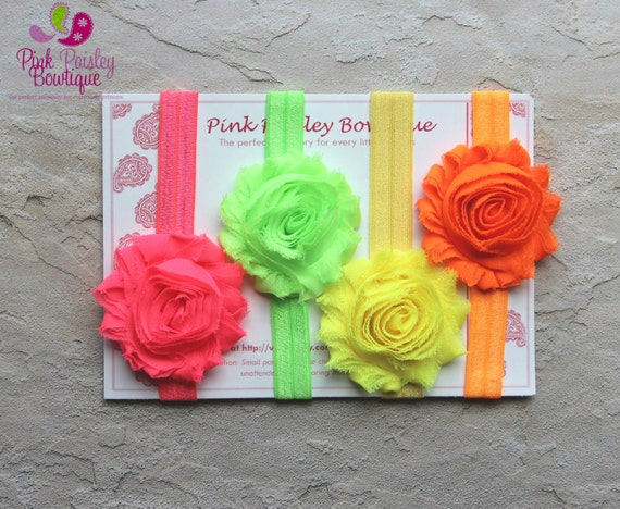 15% off ur order-Set of 4 Shabby Chic Neon Baby Headbands-Baby Bow-Vintage Headbands-Shabby Chic-Baby Girl Headband-Newborn