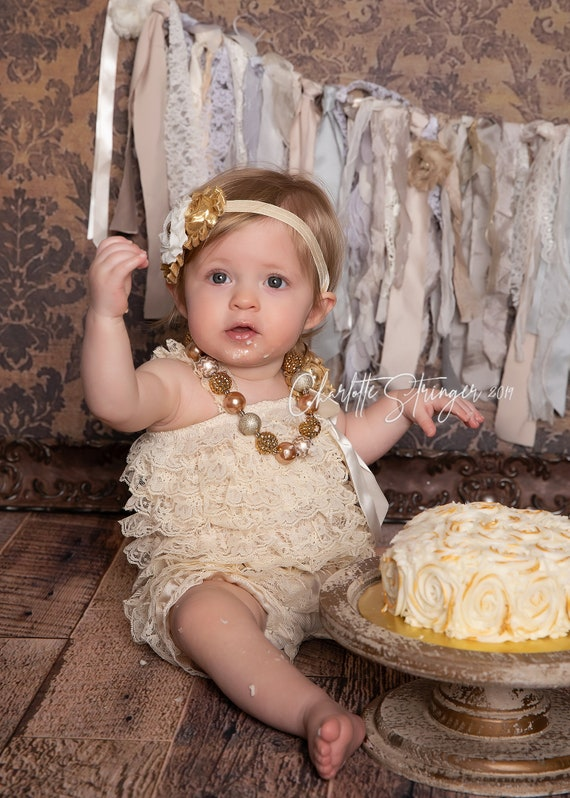 Baby Girl 1st Birthday Outfit - Cake Smash Outfit- Christmas party - Baby Romper - Dark Ivory  gold Cake Smash Outfit