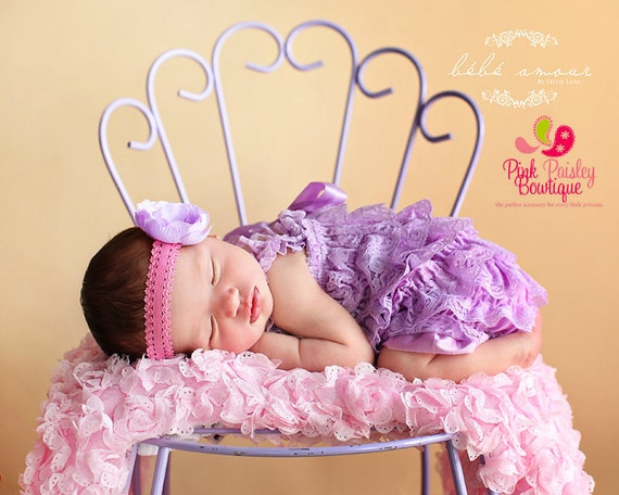 Romper-Newborn coming home outfit- 2 ,3 or 4 pc Lavender Petti Lace Romper Headband SET,  Baby Girl coming home Outfit, cake smash outfit