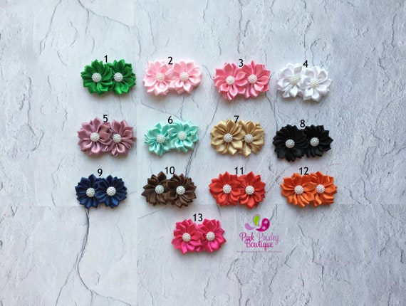 Flower Hair Clips - you pick 1 hair clip, Toddler Bows - Alligator Clips - Baby Hair Accessories - Itty Bitty Clips -Toddler Hairbows
