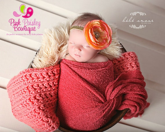 Baby Girl Headband - Baby headbands - Orange & Gold Headband - Baby Hair Accessories - Newborn Headband - Infant Headband - Fall Headband