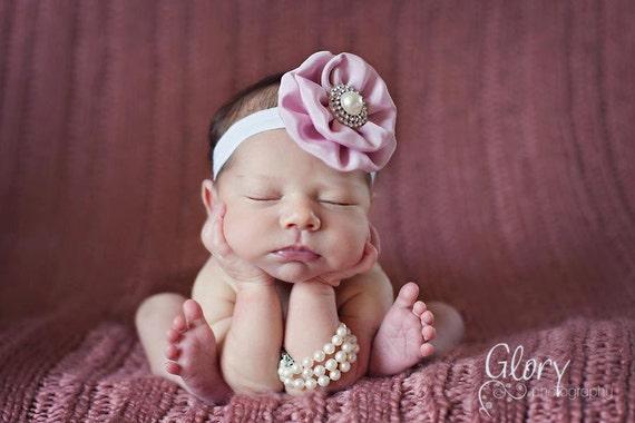 Baby Girl Headbands - Newborn Photo Props - Vintage Pink baby Headbands - infant headbands - baby pink headbands