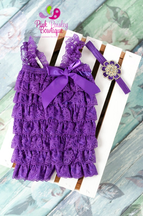 Newborn Coming home outfit 2PC Purple Lace Petti Romper, Purple Romper-Newborn Photo Outfit. Baby Girl 1st Birthday Outfit. Hospital Photos