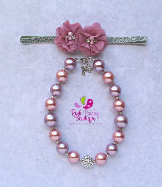Silver Pink necklace headband set, Baby headband, Pink birthday, Baby Girl chunky necklace, cake smash photo prop, Princess Birthday Party