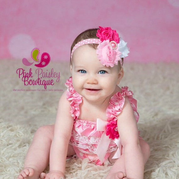 Petti Lace Romper 3 or 4 SET- Pink Polka Ruffle Romper -Baby Girl Rompers - 1st Birthday Outfit - Princess Cake Smash Outfit -Birthday Dress