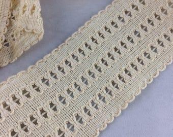 Vintage beige cotton lace 55mm - 2 meters