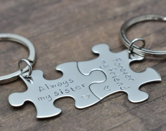 Always my sister Forever my friend Keychains for Sisters and Best Friends, Set of puzzle piece keychains, Gift idea, Puzzle Pieces