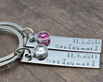 Bridesmaid Birthstone Keychains, Bridesmaid Gifts, Set of bar keychains for bridesmaids, Birthstone charm, Custom Wedding Date
