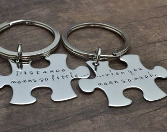 Valentines Day Gift, Distance means so little when you mean so much Couples Keychains in Melody Font