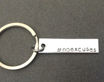 No Excuses Keychain, Exercise Keychain, Motivation Keychain Gift, Workout, Weight Loss Gift, Fitness Keychain, Single Keychain, Fit Fam