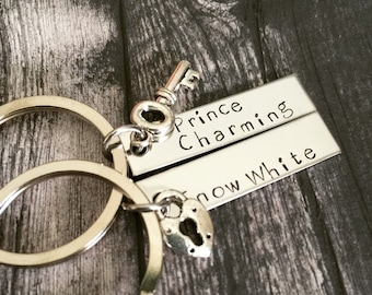 Snow white prince charming keychains, Bar Keychains, Hand Stamped, Personalized, matching keychains, one year anniversary, lock key charms