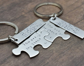 You are my piece with custom coordinate charm add on, couples keychains, latitude longitude, custom gift idea, anniversary gift