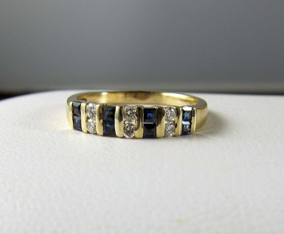 Vintage Bailey Banks And Biddle 14k Fine Sapphire Diamond Band Etsy